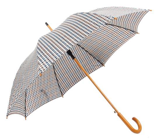 格子礼品伞定做 木弯柄商务伞厂家